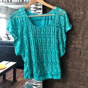 Turquoise Textured Blouse